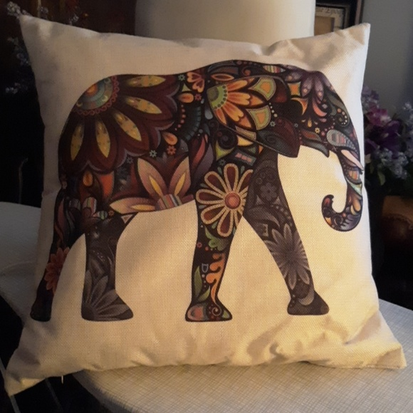 none Other - Psychedelic floral elephant pillow